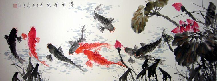 国画动物图片鱼