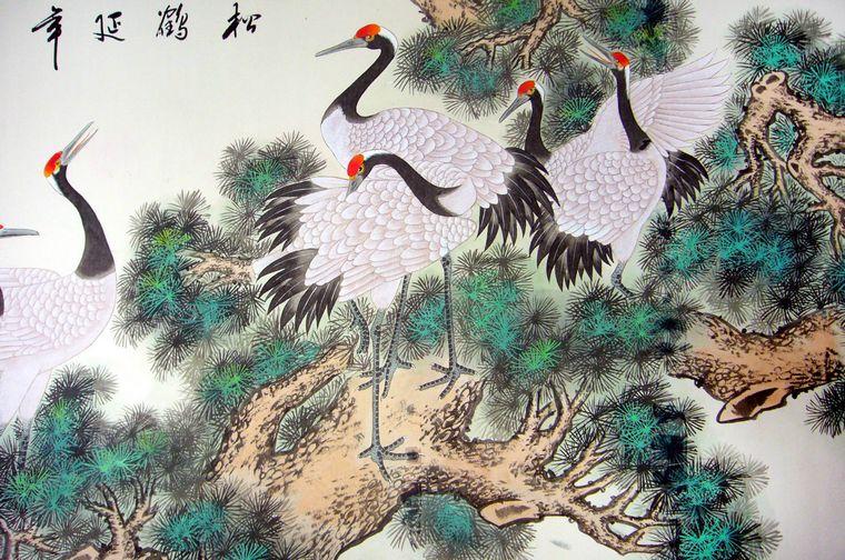 六尺国画松鹤延年