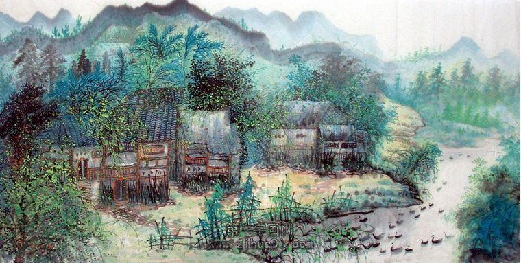 乡村山水田园工笔画