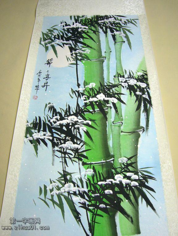 这幅国画竹子非常适合挂在家里的书房或客厅,题字为节节高升,装裱后尺