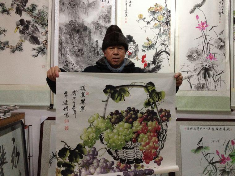 四尺斗方国画葡萄作品