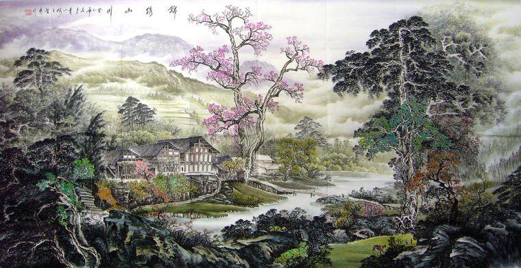 八尺名家山水画-锦绣山川