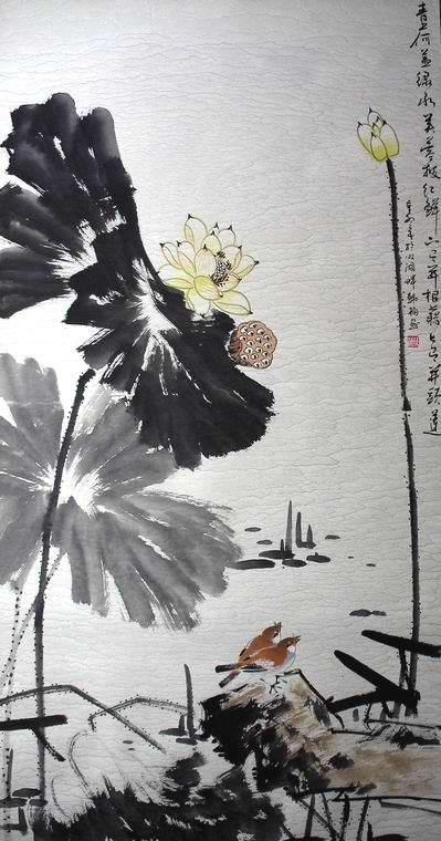 荷花古诗图 国画 名人画家书法作品欣赏 墨韵堂图片