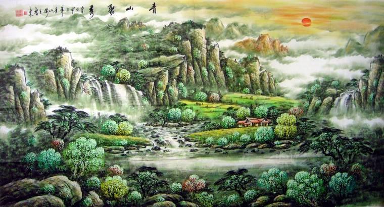 六尺瀑布山水画