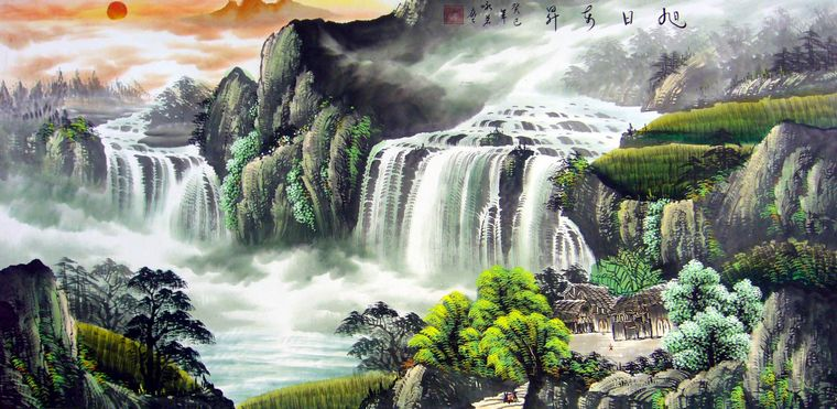 壁纸 风景 国画 旅游 瀑布 山水 桌面 760_371