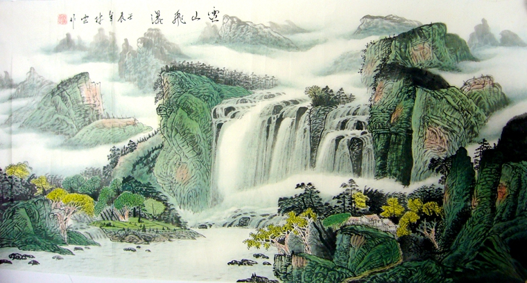 四尺横幅国画山水画作品