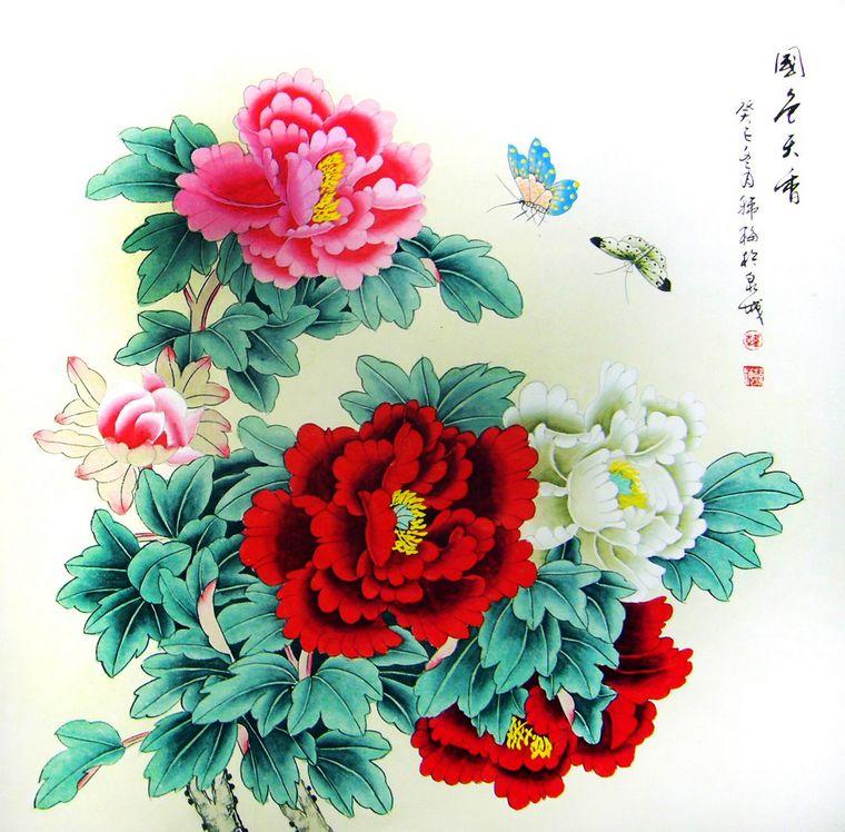 斗方工笔牡丹画