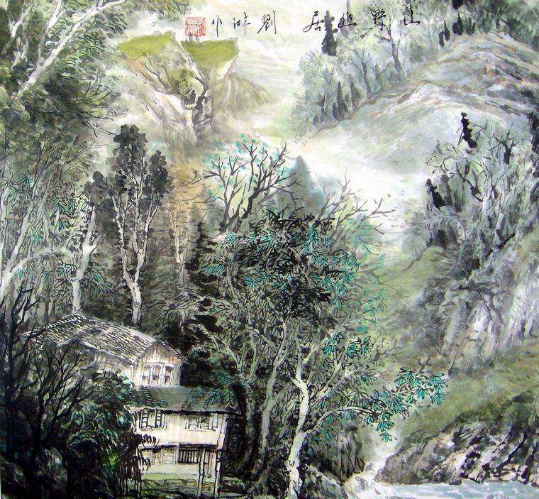 斗方山水国画