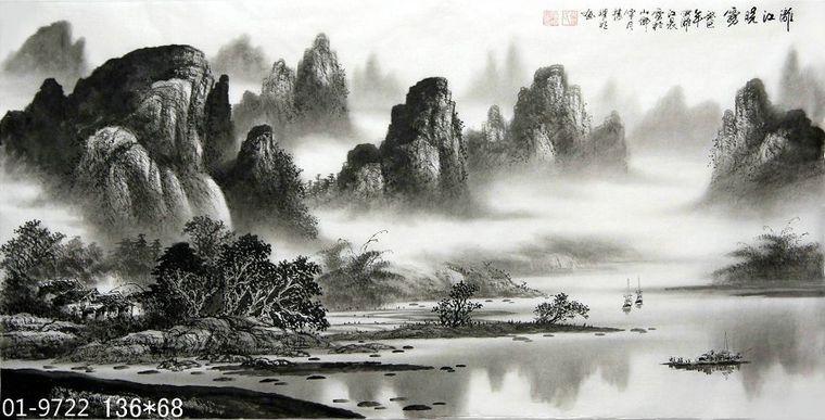 漓江山水国画