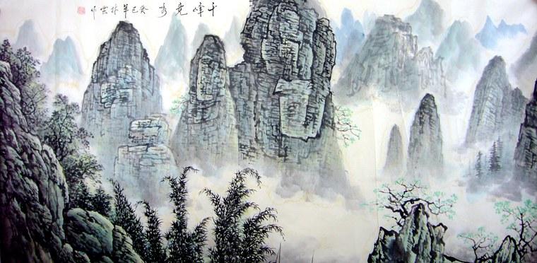 国画写意山水风景画