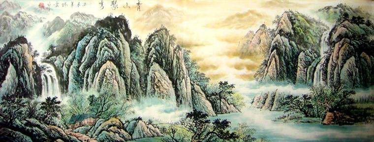 次 产品简介:               客厅沙发背景画,林云老师小六尺山水