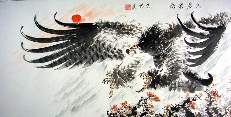 雄鹰展翅铅笔手绘简单