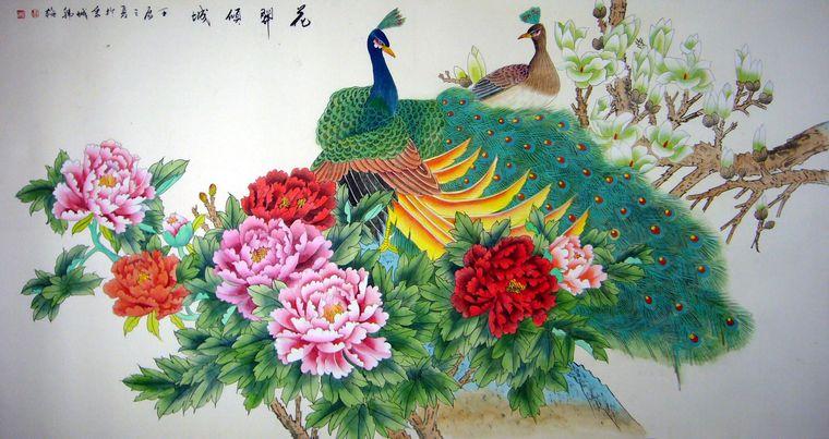 工笔画孔雀牡丹