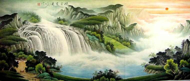 酒店宴会厅挂的山水画,画家王咏茗八尺山水佳作,气势磅礴