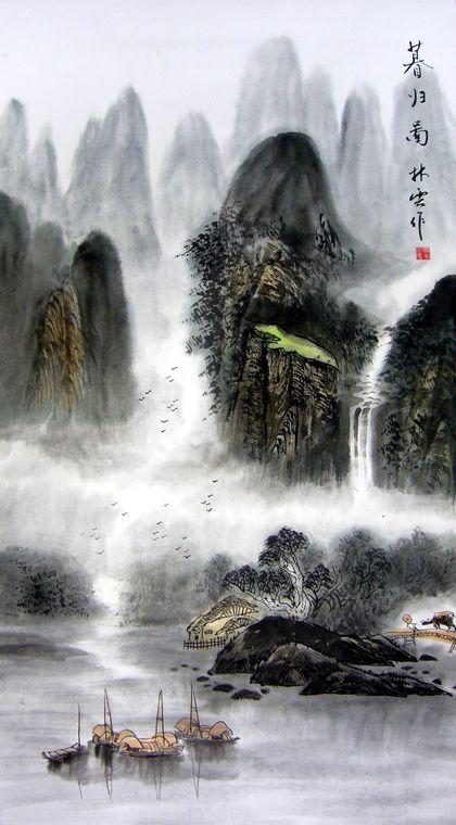 壁纸 风景 国画 山水 桌面 420_760 竖版 竖屏 手机