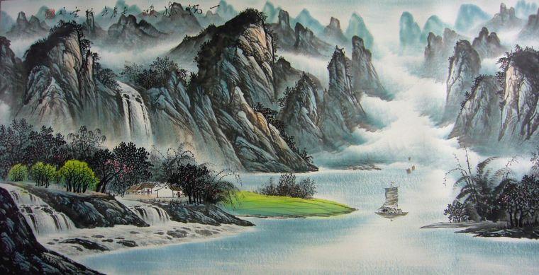 国画一帆风顺图片