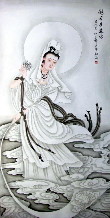 工笔画观音|佛教观世音菩萨图|观世音菩萨香谱图