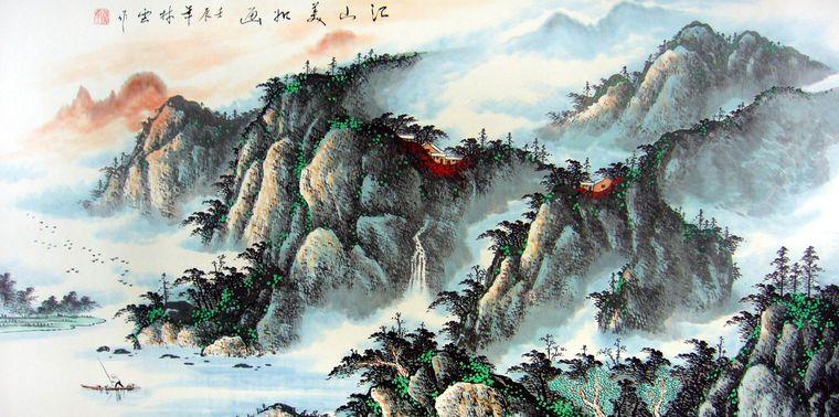 四尺横幅国画山水作品