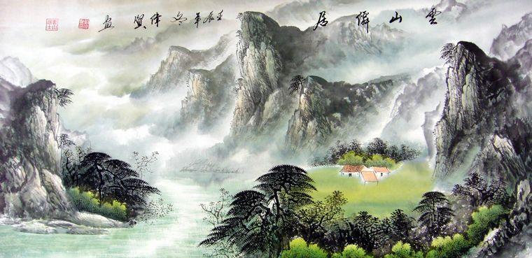 四尺写意山水画,四尺竖幅山水画,水墨山水画 - 第一网