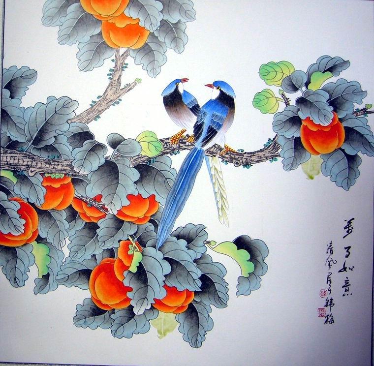 写意画柿子