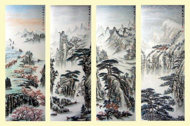 四季山水画|山水风景画|四季风景图|四季美景图|抽象