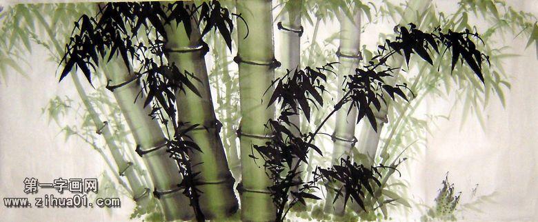 竹子水墨画图片 - 第一字画网