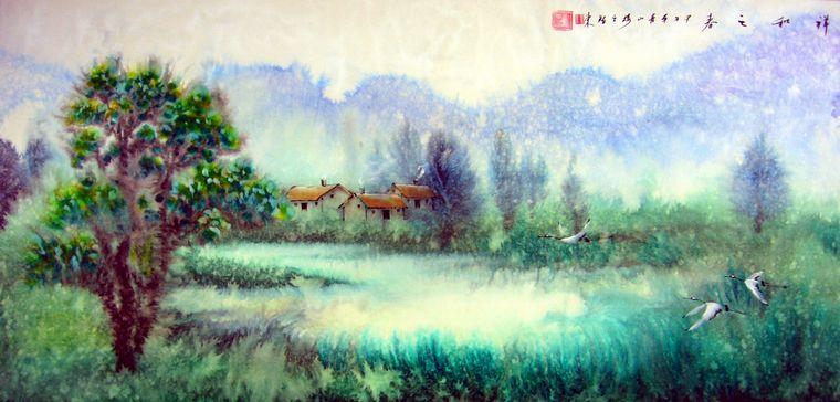 求线条简单色彩丰富的风景画(是作为水彩色块练习素材