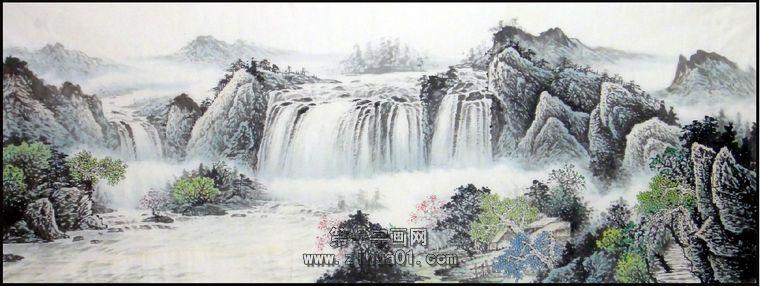 次 产品简介:               客厅沙发背景墙挂画,王咏茗小六尺山水