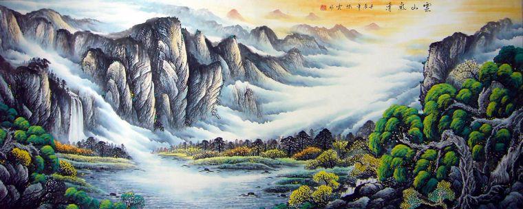 次 产品简介:               八尺重彩山水画,林云老师