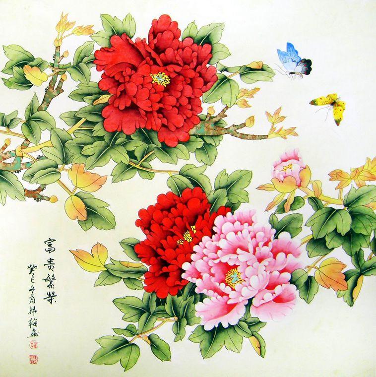 斗方工笔画牡丹