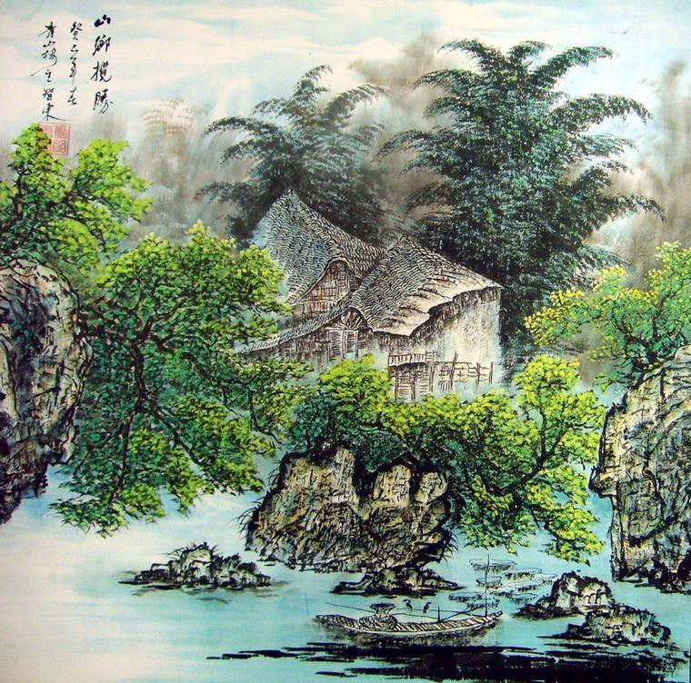 江南水乡山水国画