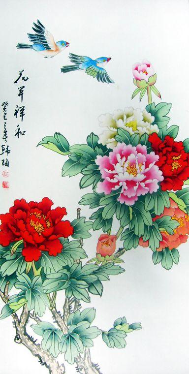 牡丹花工笔画 - 第一字画网