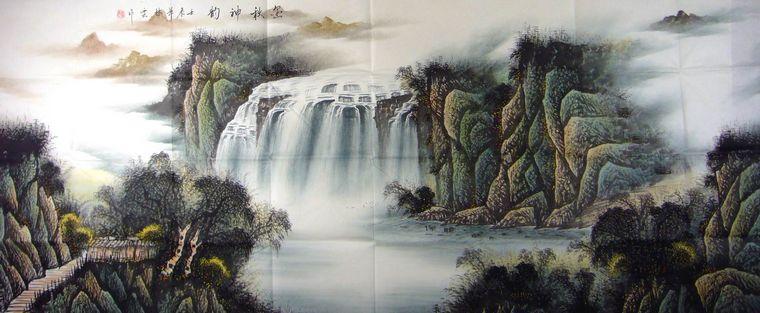 大八尺手绘山水画图片