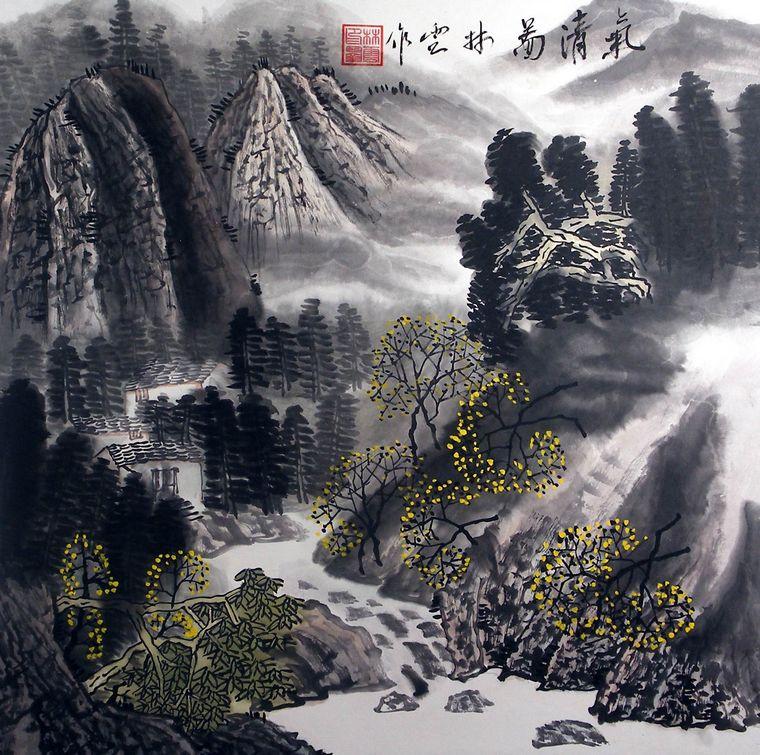 国画斗方山水画