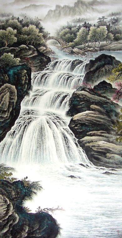 四尺竖幅山水画图片