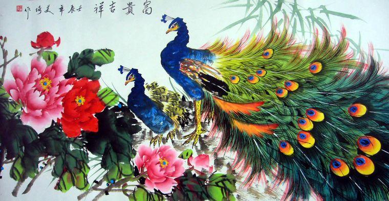 孔雀牡丹画