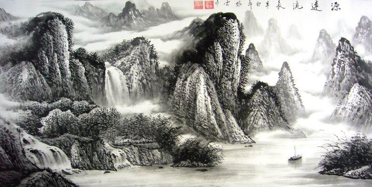 黑白山水画