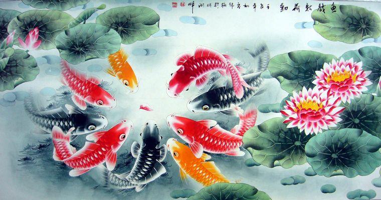 九鱼荷花图