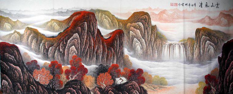 八尺重彩山水画