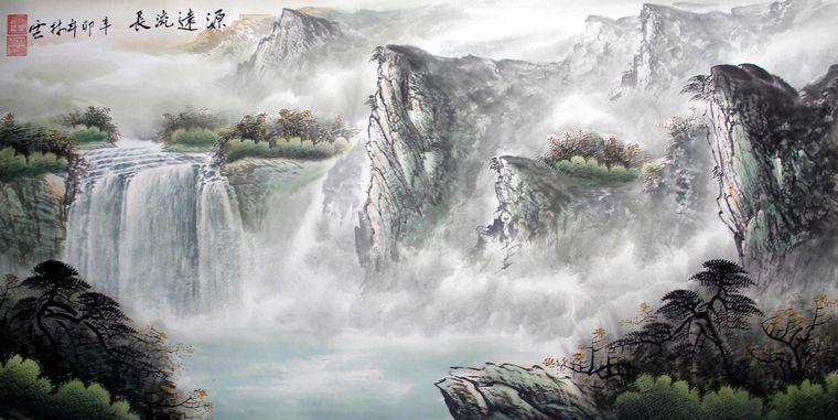 壁纸 风景 国画 旅游 瀑布 山水 桌面 760_381